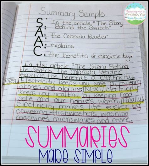 writing summaries reading in the classroom middle