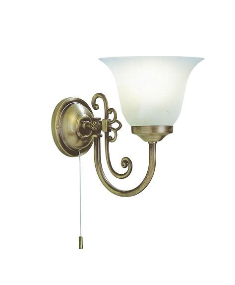 antique brass 60w wall light with pull cord switch
