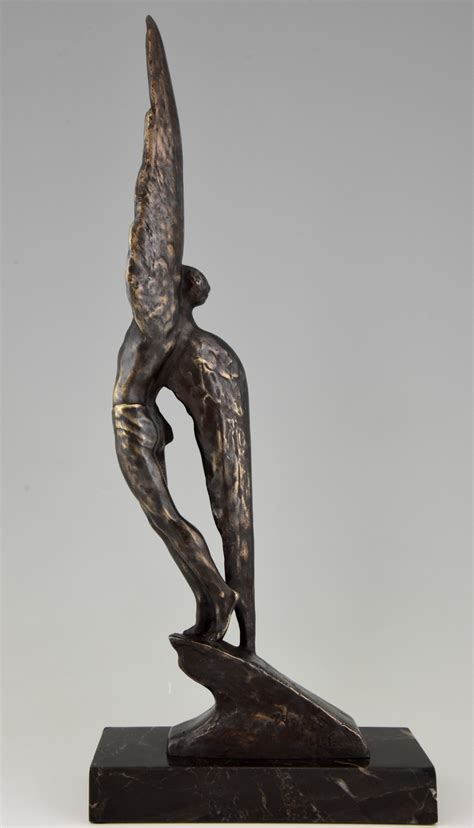 deco bronze sculpture of icarus sold items antiques