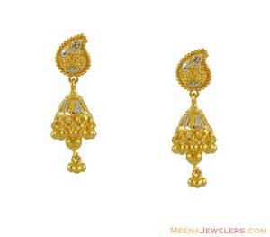 gold earrings for babies 22k gold indian jhumki erfc8570 22kt gold jhumki
