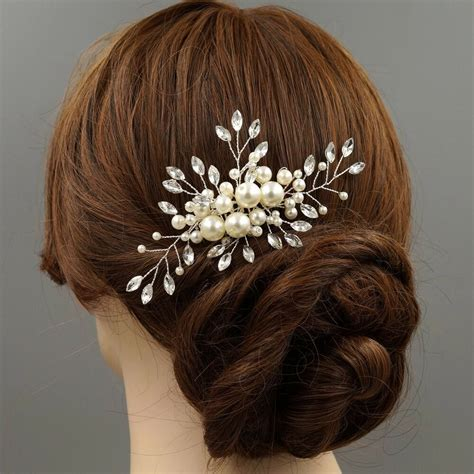 Bridal Hair Comb Clear Crystal Pearl Headpiece Wedding