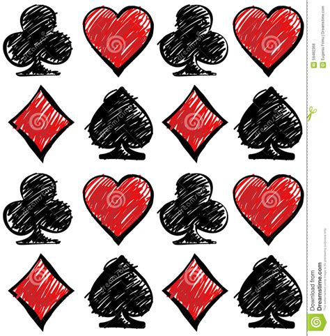 card suits cards deck pattern stock vector image
