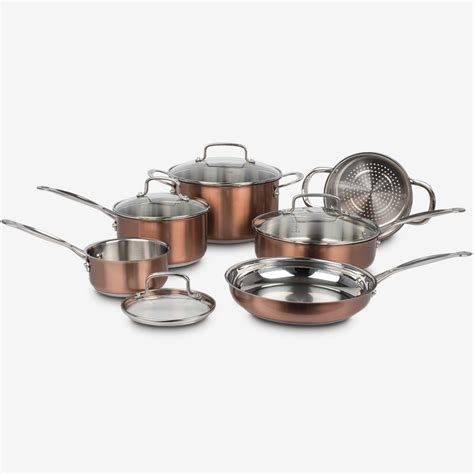piece classic collection metallic stainless steel cookware set copper ca cuisinart