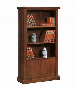 Libreria In Legno Classica Aperta 3 Ripiani 2 Ante Noce