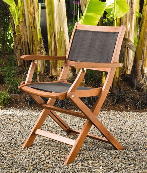 folding patio chairs wood armchairs mesh seat back