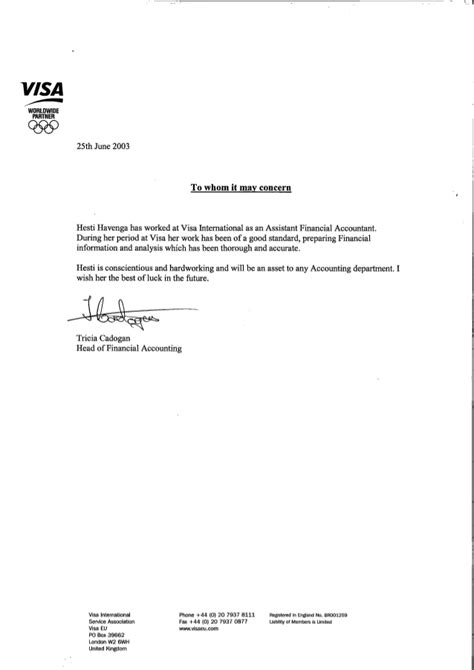 Visa International - reference letter - Tricia Cadogan