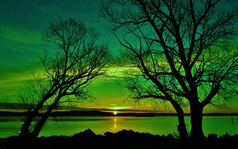 Wallpaper Green Nature by Lake Sunset Of Green Nature Wallpaper For Desktop