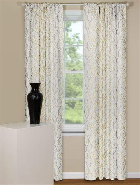 modern curtain panels in brown and grey tree branch design
