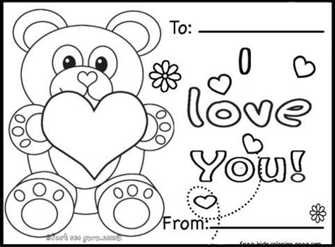 Free Printable Coloring Valentine Day Cards