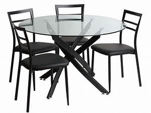 Table Ronde En Verre Conforama : ensemble table ronde et 4 chaises riberto coloris noir vente de ensemble table et ~ Nature-et-papiers.com Idées de Décoration