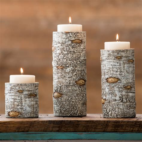 birch candle holders set