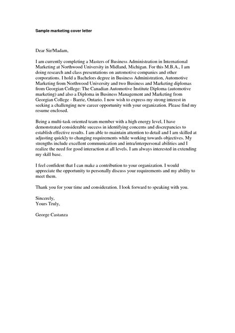 Writing A Winning Cover Letter by Marketing Cover Letter Sle Marketing Cover Letter