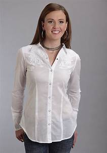 Stetson® Women's White Cotton Embroidered Long Sleeve ...