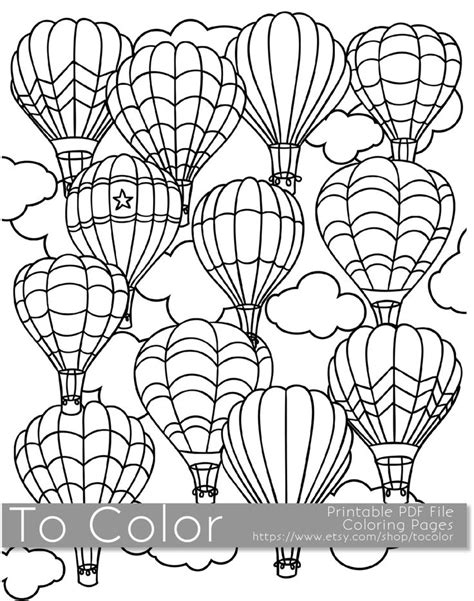 printable hot air balloon coloring page  adults