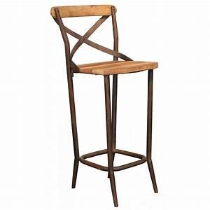 Chaise De Bar : chaise haute de bar industrielle metal et vieux bois ~ Farleysfitness.com Idées de Décoration