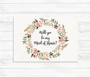 will you be my maid of honor floral printable maid of With will you be my maid of honor letter