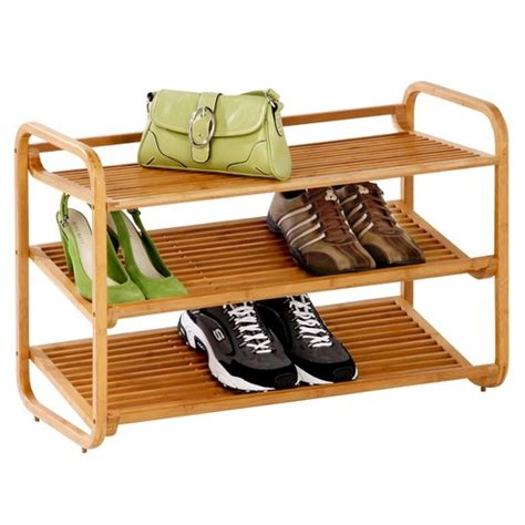 shoe racks target honey can do 3 tier deluxe bamboo shoe rack target