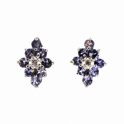 Earrings Tanzanite Cluster 9ct Diamond Jewellery