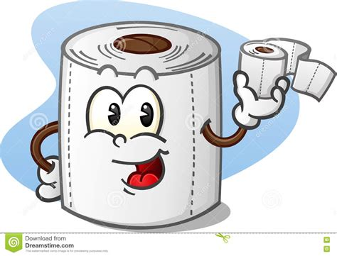 cartoon rolls happy toilet paper cartoon character holding a roll of