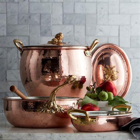 ruffoni historia hammered copper chefs pan  acorn handle williams sonoma