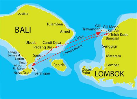 gili trawangan map fastboat routes bali pinterest