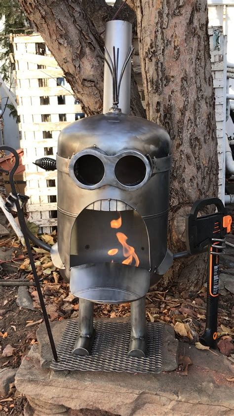 lumberjack minion inspired fire pit wine holding inspired