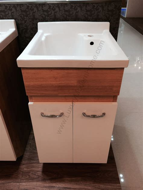 """Modern 18"""" Small Laundry Utility Sink Mop Slop Oak"""