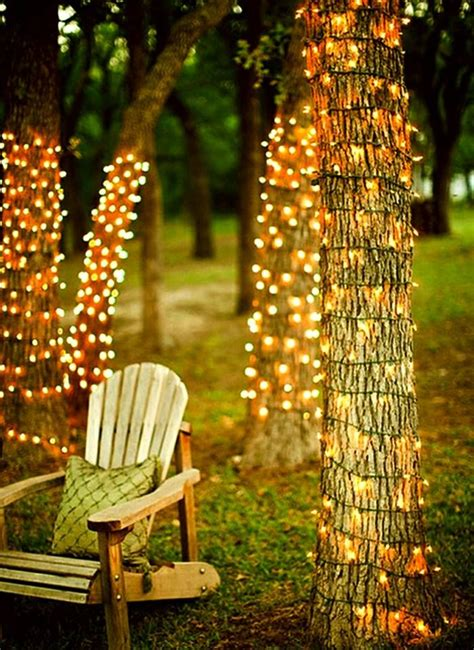 outdoor twinkle lights wrapped trees garden design