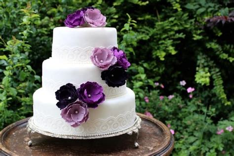 purple flower wedding cake toppers  flowers