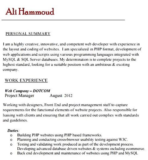 sle php developer resume template free sles