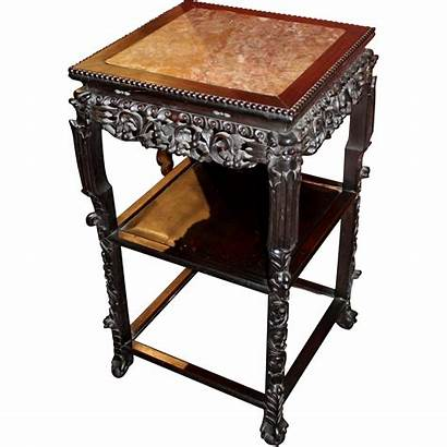 Chinese Marble Square Stand Rosewood Carved Century
