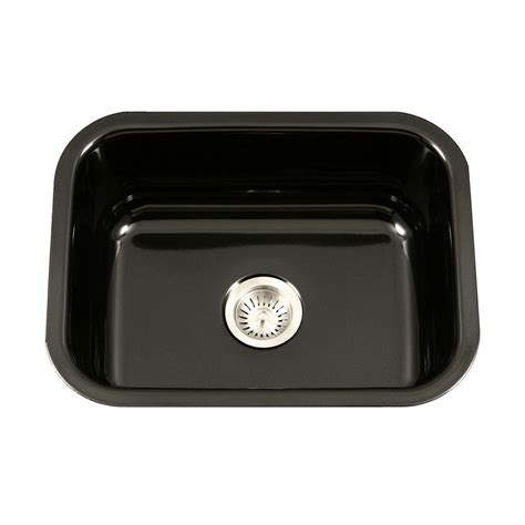 black ceramic kitchen sinks houzer porcela series undermount porcelain enamel steel 23 4659