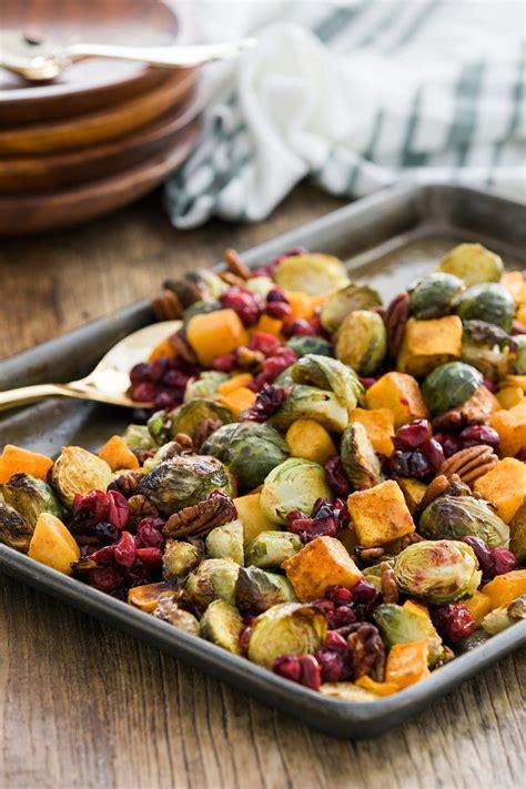 squash sprouts butternut cranberries pecans brussel pan sheet recipe winter brussels