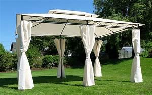 Pavillon Aruba 3x4 : eleganter gartenpavillon pavillon 3x4 meter 12m dach 100 wasserdicht uv30 mit 6 vorh ngen ~ Yasmunasinghe.com Haus und Dekorationen
