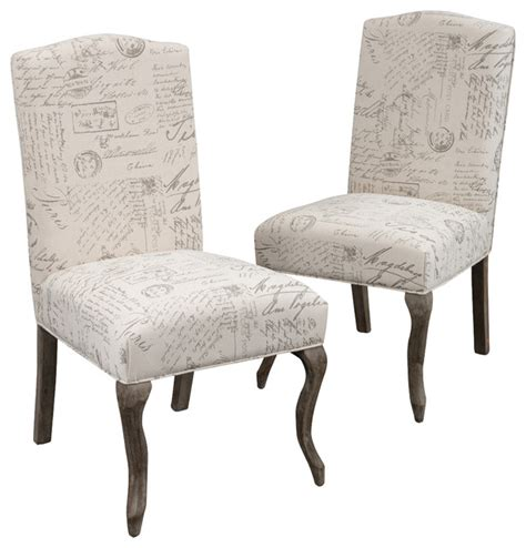 crown  french script beige fabric dining chairs set   contemporary dining chairs