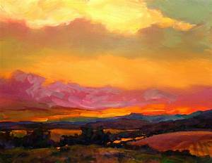 Sunset Over Green Mountains Painting by Savlen Art