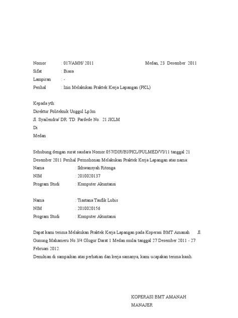 surat balasan pkl