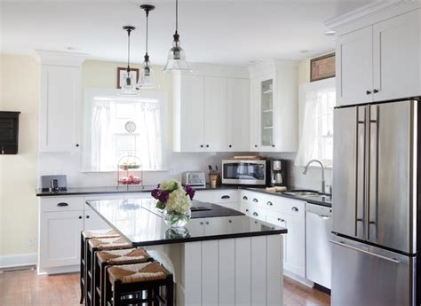 white l shaped kitchen with island seagrass counter stools cottage kitchen beth