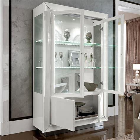 bianca white high gloss glass  door display unit