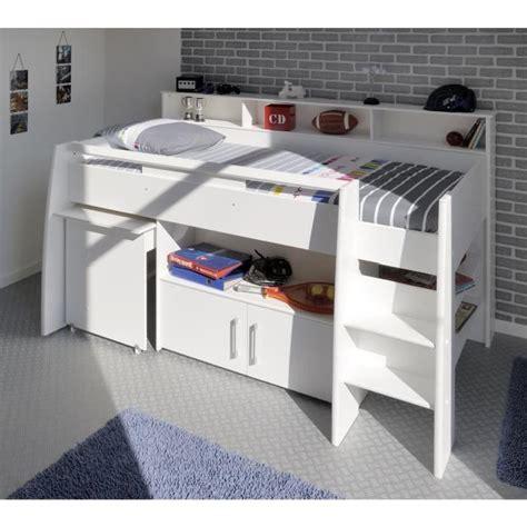 dave lit combin 233 enfant avec sommier bureau contemporain d 233 cor blanc l 90 x l 200 cm achat