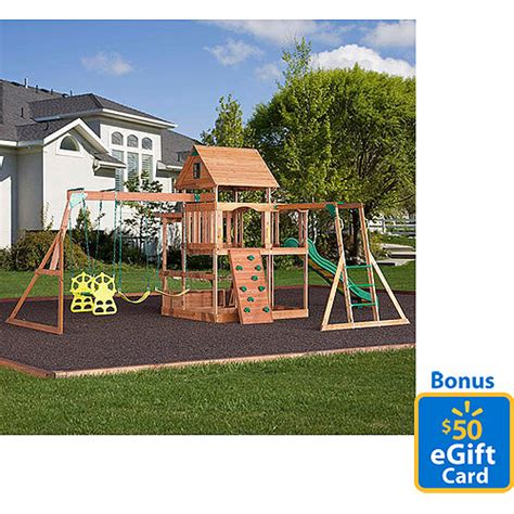 Backyard Discovery Monticello Cedar Swing Set With Bonus