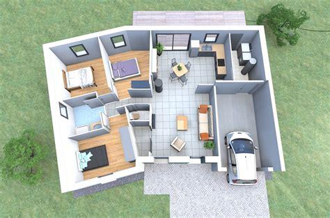 plan 3d chambre plan 3d d 39 une maison en v de plain pied avec 3 chambres