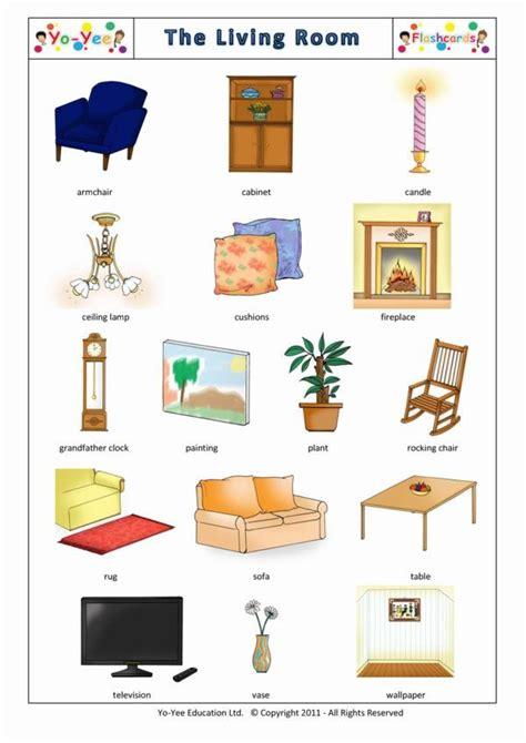 living room flashcards  kindergarten salle de sejour