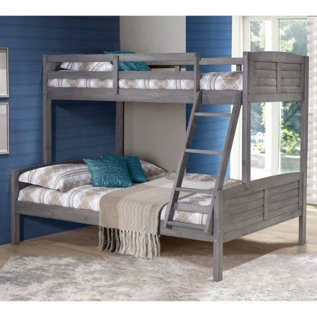 donco louver twin  full bunk bed antique grey