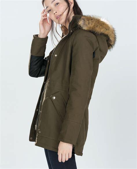 Zara Combined Parka With Fur Hood in Green | Lyst