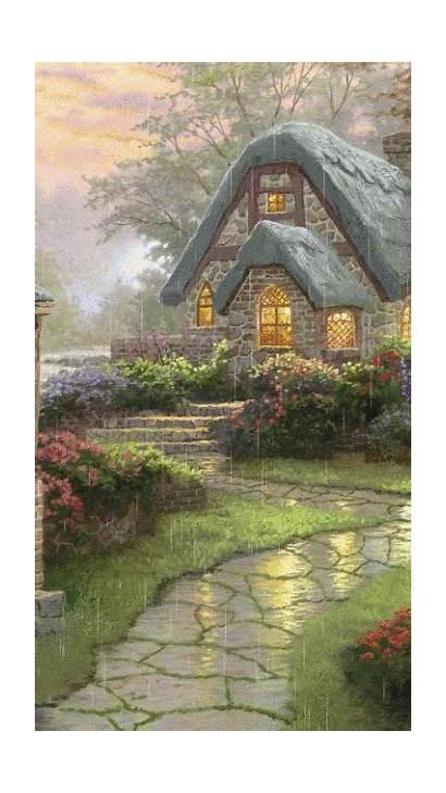Kinkade Thomas Rainy Cottage Paintings Rain Night