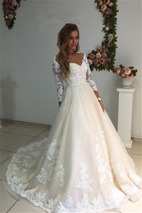 3 4 sleeves bridal gowns 2018 a line chagne appliques