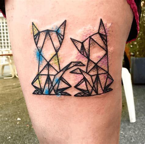 tatouage origamis de deux chats lion tattoo ideas