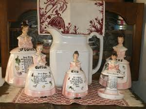 black and white kitchen canisters 1950 39 s prayer set enesco ceramic figural pink praying