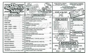 The Sandwich Shop Big Menu - Modesto - Dineries